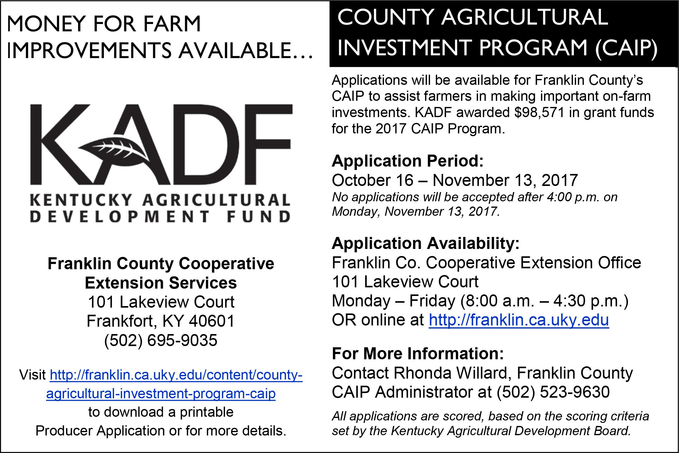 County Agricultural Investment Program (CAIP)   Franklin County